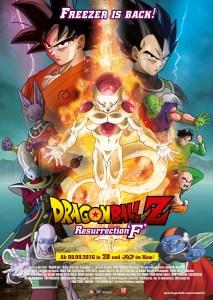 Auf dem Filmposter zu Dragonball Z Resurrection F sieht man Son Goku, Son Goten, Freezer und viele weitere wichtige Charaktere