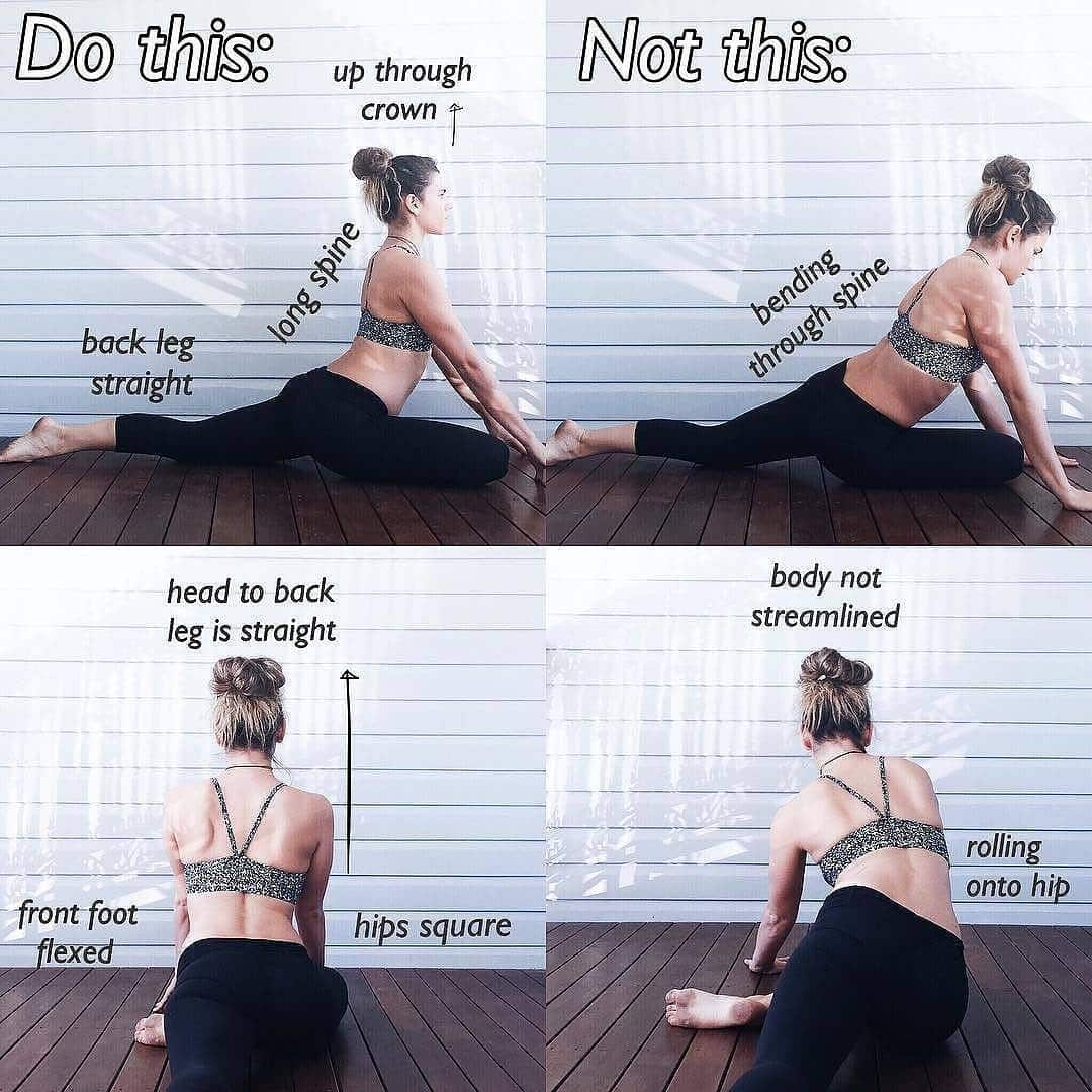 #Repost @clarejbyoga ・・・ EKA PADA RAJAKAPOTASANA ?? Pigeon Pose (I.e the best hip opener that ever existed!). This one is easy to do incorrectly, particularly if you're still building your flexibility and can't square the hips. For basic alignment: . ✔️Hips square + forward ✔️Long spine from crown to back leg ✔️Tailbone tucked ✔️Front foot flexed ✔️Back leg straight ?If unsteady when squaring hips place cushion / blanket under bent leg hip to prop up. ✨BENEFITS: Stretches hips, glutes and groin, massages internal organs, releases emotional and physical tension ✨ Enjoy! #ClaresYogaTips #posealignment . For more yoga tips and to help you get started check out my FlexiFit eGuide out NOW via link in bio⬆️ or @selftaughtyogis #dragoboater #dragonboat #yoga #stretch #hips #glutes