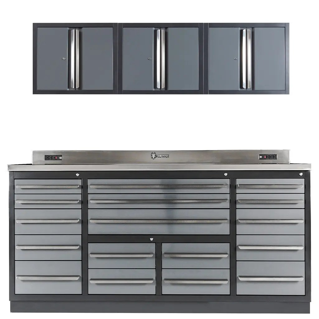 17 Drawer Midnight Pro Series Workbench with Wall Cabinets