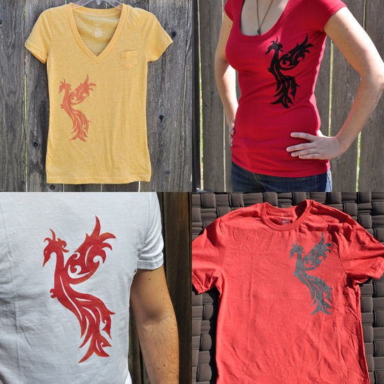 Phoenix printed shirts in the shop