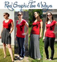 Red Graphic Tee 4 Ways