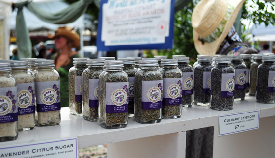 Some typical lavender-themed goods for sale.