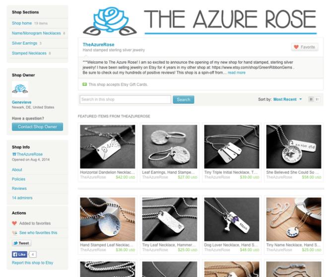 The Azure Rose Etsy shop