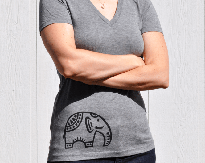 Black Elephant on Grey Tee by Dragonflight Dreams