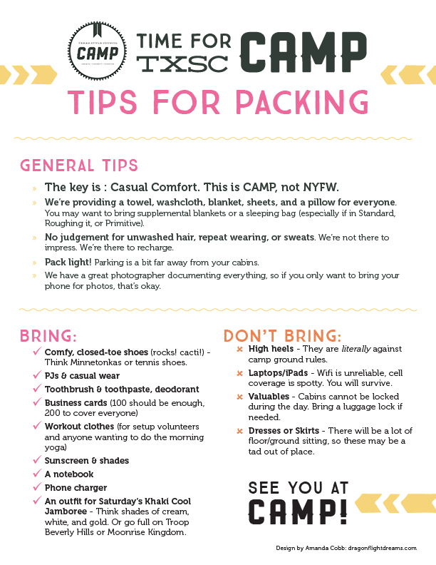 TxSC Camp 2015 packing list