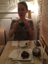 First stop in an Italian coffeeshop/bakery - hot chocolate and decadent dessert.