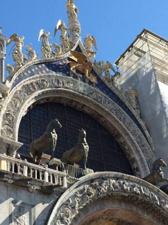 A small portion of the intricate exterior of Saint Mark's Basilica in Venice.