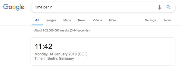 Zero-click search results displaying the time in Berlin, Germany.