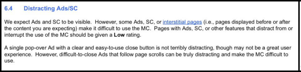 Screenshot of Distracting Ads/SC Section of Google Quality Raters Guide