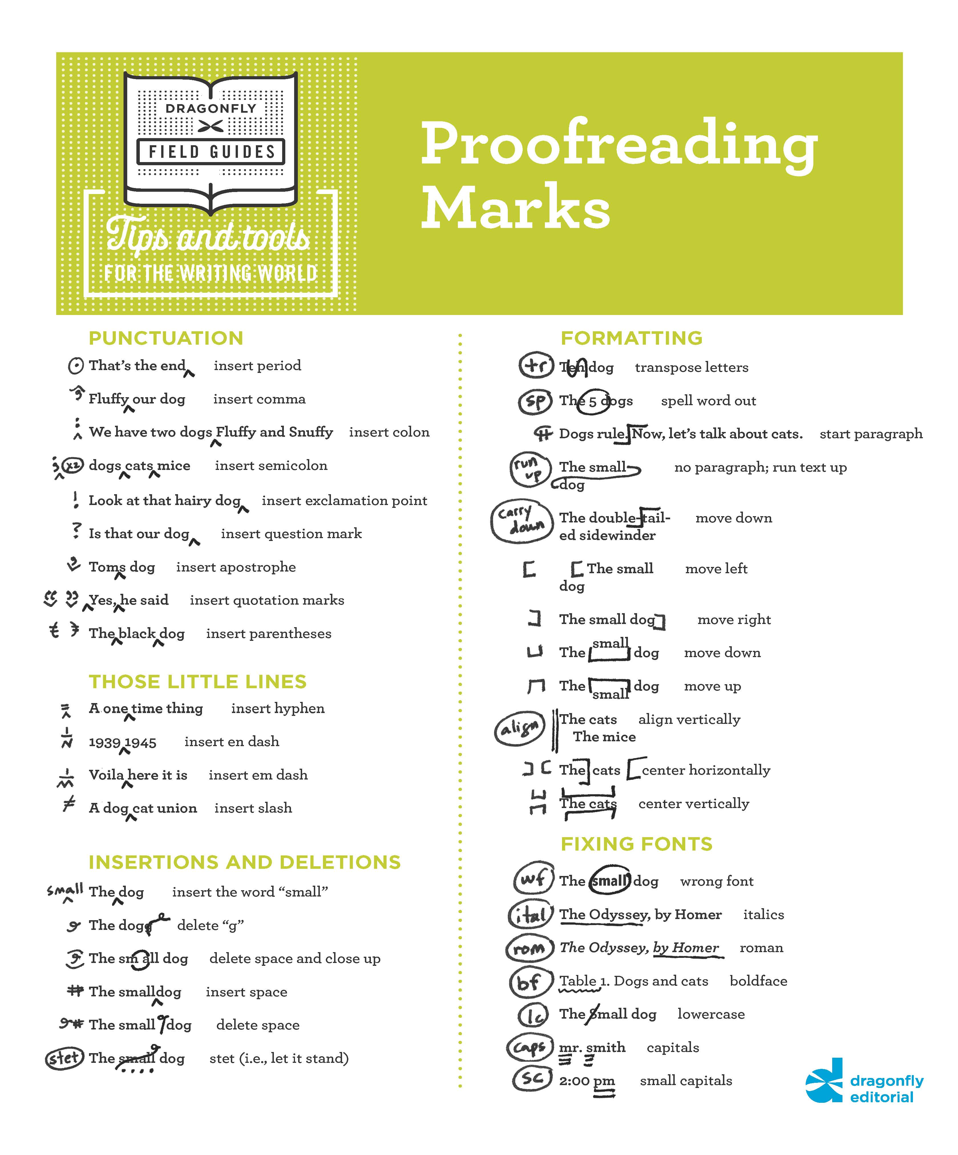 Dragonfly S Guide To Proofreading Marks