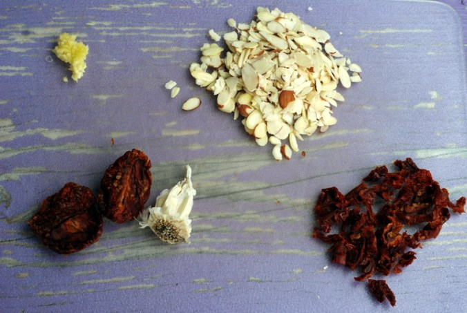 almonds, garlic, sun-dried tomatoes