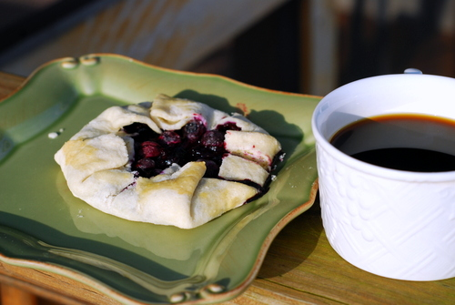 blueberry galette with coffee