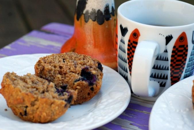 blueberry muffin in half