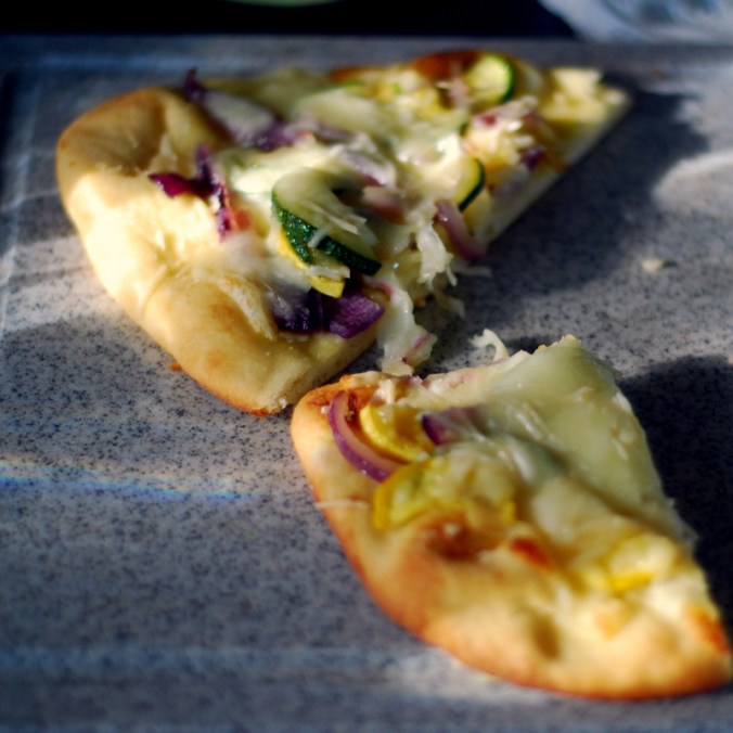 sunshine flatbread pizza on cutting board 3