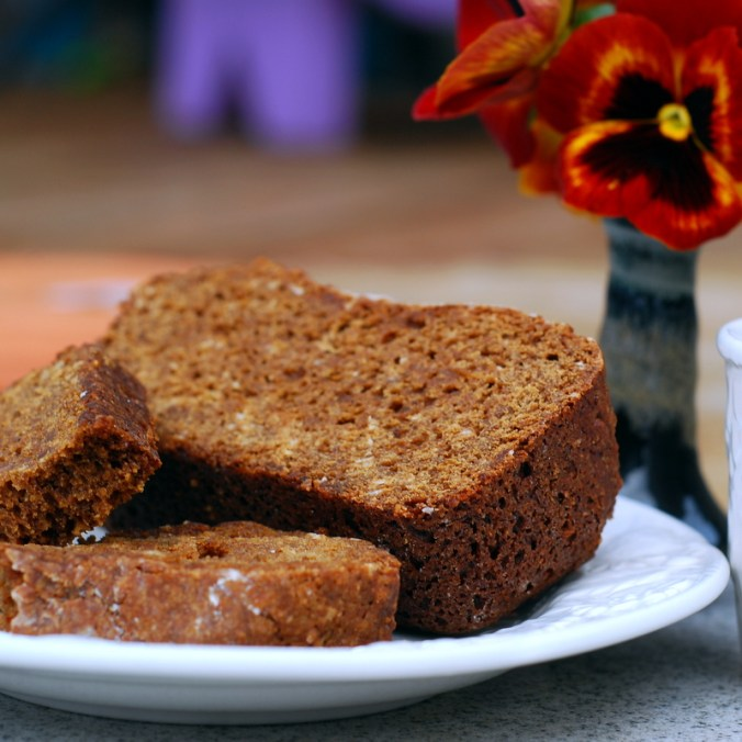 ginger oat bread with pansies 7