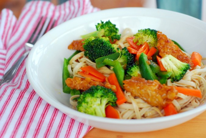 tempeh and vegetables with red and white