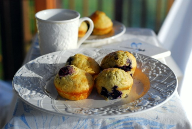 classic blueberry muffins on porch 4