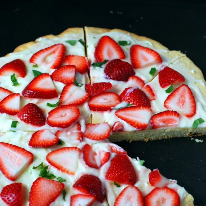strawberry-mint pizza on baking sheet 2