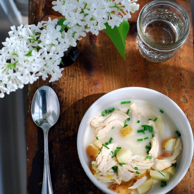 potato leek soup overhead