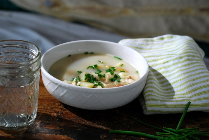 potato leek soup with napkin