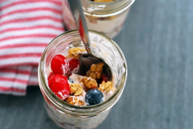 cherry berry breakfast jars with stripes