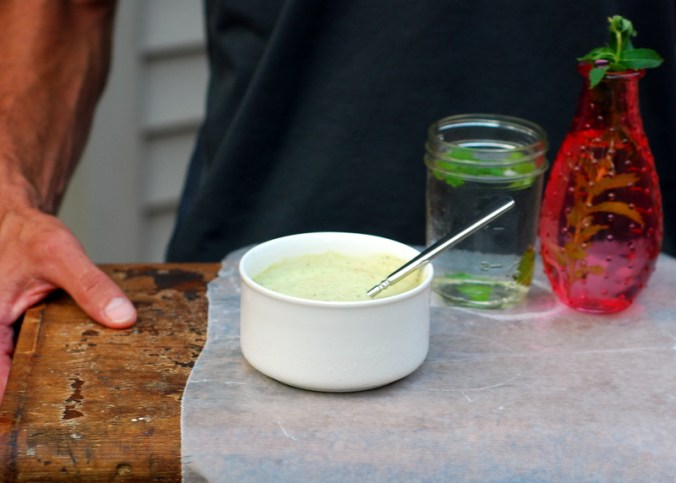 cucumber mint soup on tray