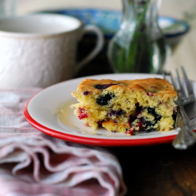 berry breakfast cake with pink linen