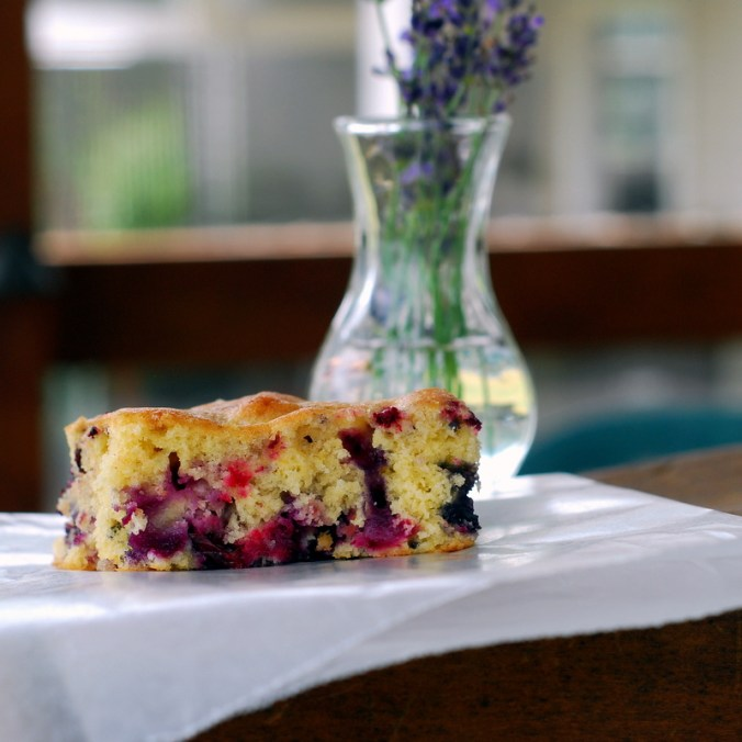 berry breakfast cake on porch