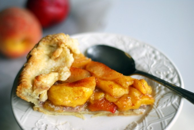peach and red plum galette