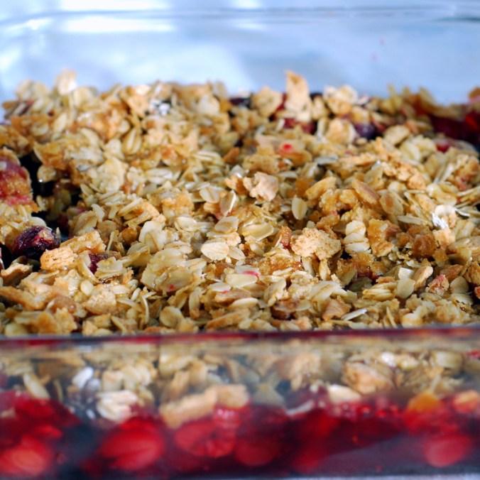 cherry-cranberry crisp