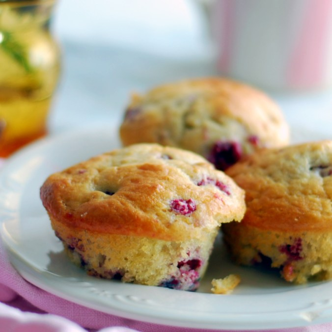 generous red raspberry muffins
