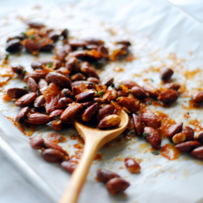 almonds with spoon