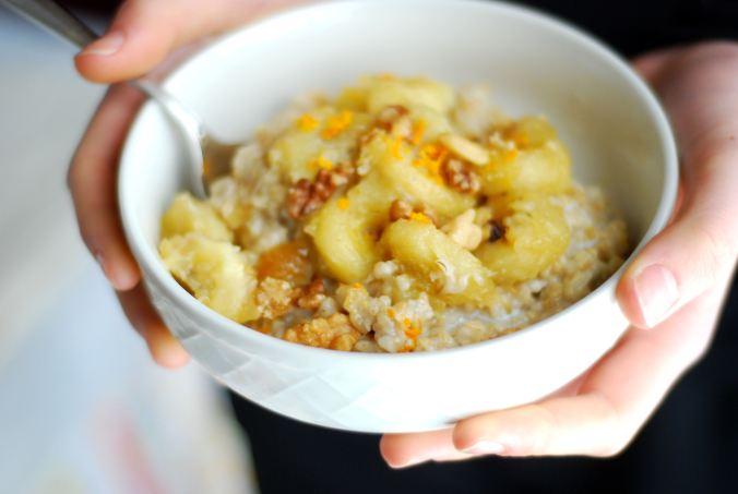 oatmeal in hands