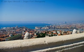 A lookout point from the Notre-Dame-de-la-Garde, high on top of a hill in the center of Marseille France.