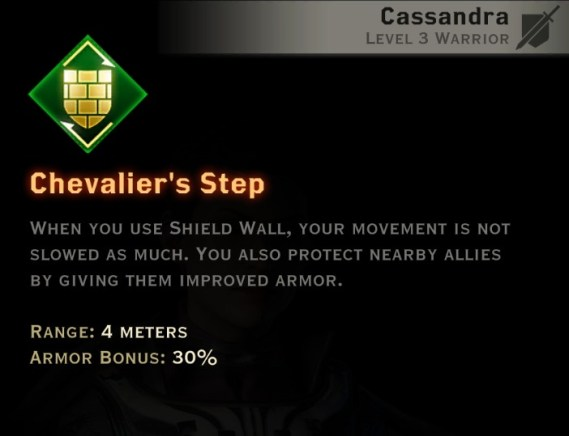 Dragon Age Inquisition - Chevalier's Step Weapon and Shield warrior skill