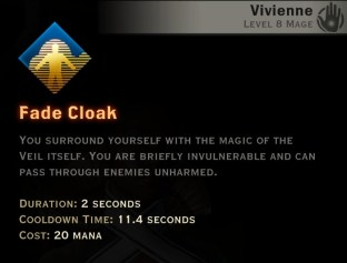 Dragon Age Inquisition - Fade Cloak Knight-Enchanter mage skill