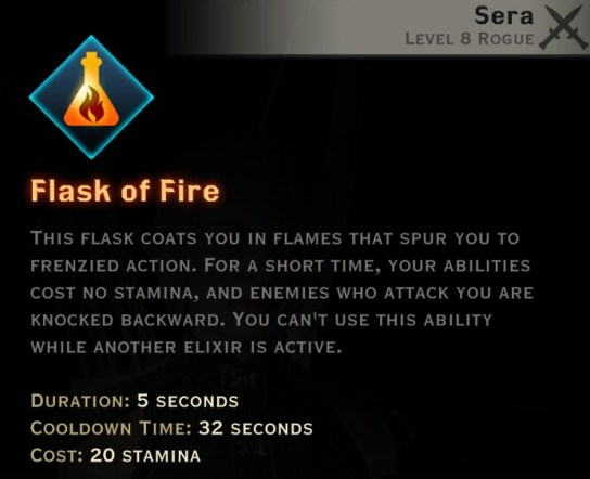 Dragon Age Inquisition - Flask of Fire Tempest rogue skill