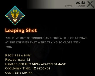 Dragon Age Inquisition - Leaping Shot Archery rogue skill