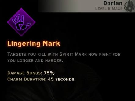 Dragon Age Inquisition - Lingering Mark Necromancer mage skill