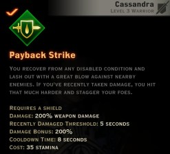 Dragon Age Inquisition - Payback Strike Weapon and Shield warrior skill