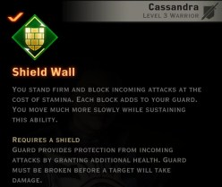 Dragon Age Inquisition - Shield Wall Weapon and Shield warrior skill