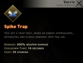 Dragon Age Inquisition - Spike Trap Artificer rogue skill
