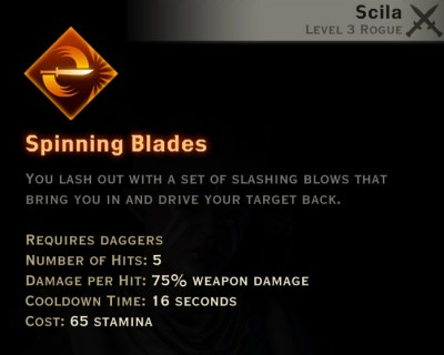 Dragon Age Inquisition - Spinning Blades Double Daggers rogue skill