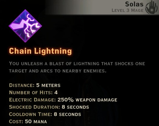 Dragon Age Inquisition - Chain Lightning Storm mage skill