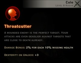 Dragon Age Inquisition - Throatcutter Assassin rogue skill
