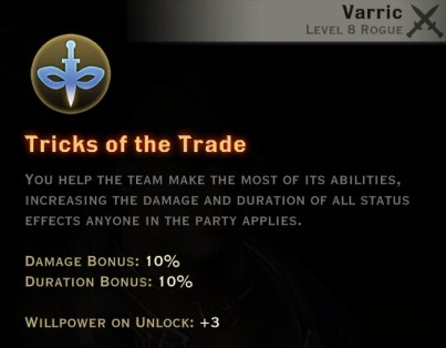 Dragon Age Inquisition - Tricks of the Trade Artificer rogue skill
