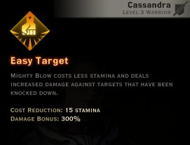 Dragon Age Inquisition - Easy Target Two-Handed Weapon warrior skill