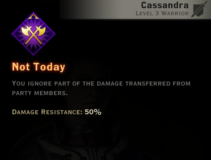 Dragon Age Inquisition - Not Today Vanguard warrior skill