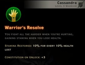 Dragon Age Inquisition - Warrior's Resolve Weapon and Shield warrior skill