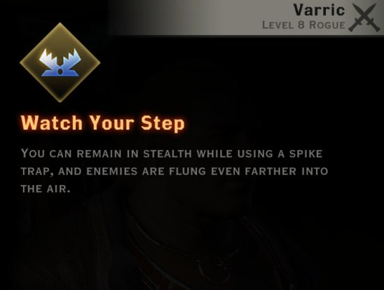 Dragon Age Inquisition - Watch Your Step Artificer rogue skill